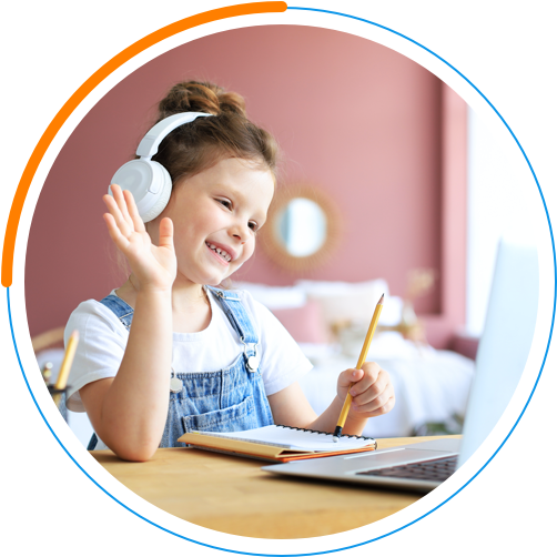 Girl with Headphones looking at laptop and holding pencil with notebook