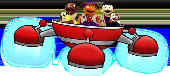 Illustration of three puppet children in a red spacecraft