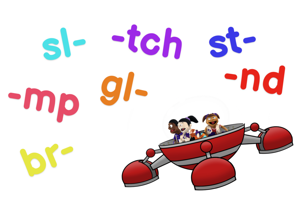 Illustration of a puppet flown paceship with letters over it